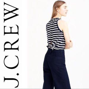 •J. Crew•  NWT Tie-Back Tank Top in Navy Stripes